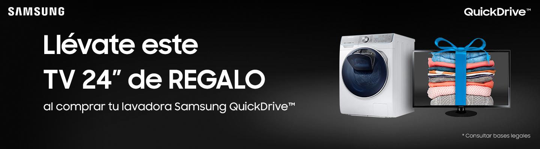 Llévate este tv al comprar una lavadora Samsung Quickdrive