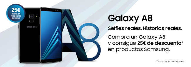 25€ de descuento en productos Samsung al comprar un Galaxy A8