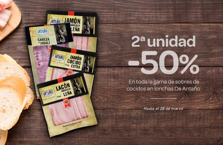 2ª unidad al -50%. En toda la gama de sobres de cocidos en lonchas De Antaño.