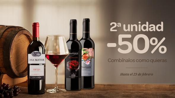 2ª unidad -50% en estos vinos