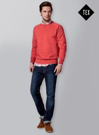 Camisa Fantasía, jersey cuello redondo y pantalón vaquero formal