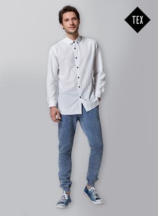 Camisa ML Topitos y pantalón gomas felpa.