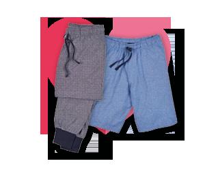Pack pantalón largo + corto punto hilo tejido.