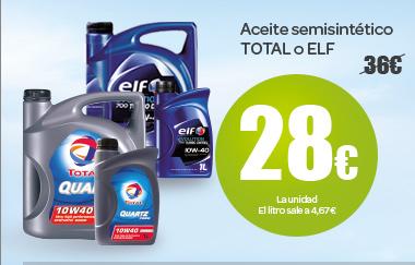 Aceite semisintético TOTAL o ELF a 28 euros la unidad, el litro sale a 4,67 euros
