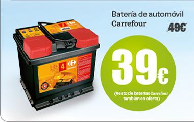 Batería de automóvil Carrefour a 39 euros, resto de baterías Carrefour también en oferta