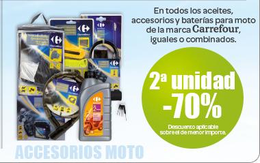 Segunda unidad a -70% en todos los aceites, accesorios y baterías para motos de la marca Carrefour, iguales o combinados (Descuento aplicable sobre el de menor importe)