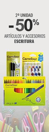 2ª Unidad al 50% en artículos y accesorios de escritura Carrefour