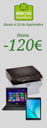 Plan Renove  Hasta 120€ de descuento (imagen bodegón portátil, tablet , impresora)